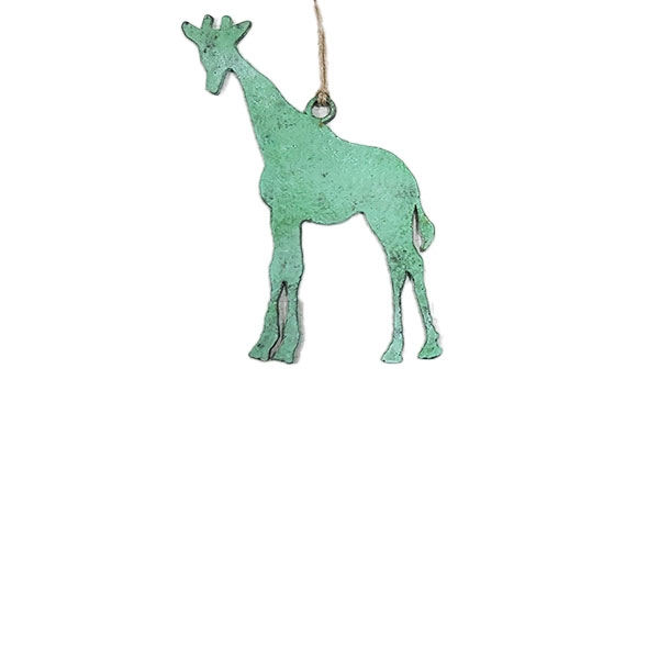 ORNAMENT STAINLESS STEEL GIRAFFE GREEN