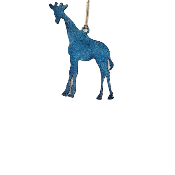 ORNAMENT STAINLESS STEEL GIRAFFE BLUE